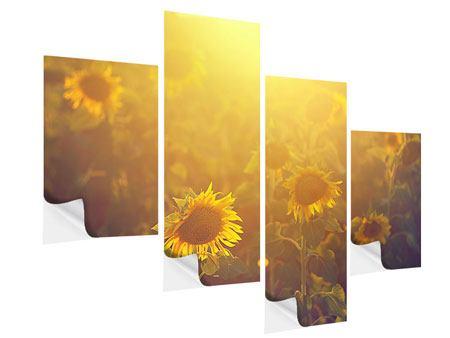 Klebeposter 4-teilig modern Sonnenblumen im goldenen Licht