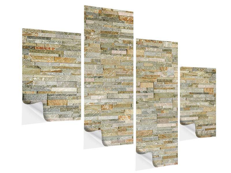 Klebeposter 4-teilig modern Edle Steinmauer