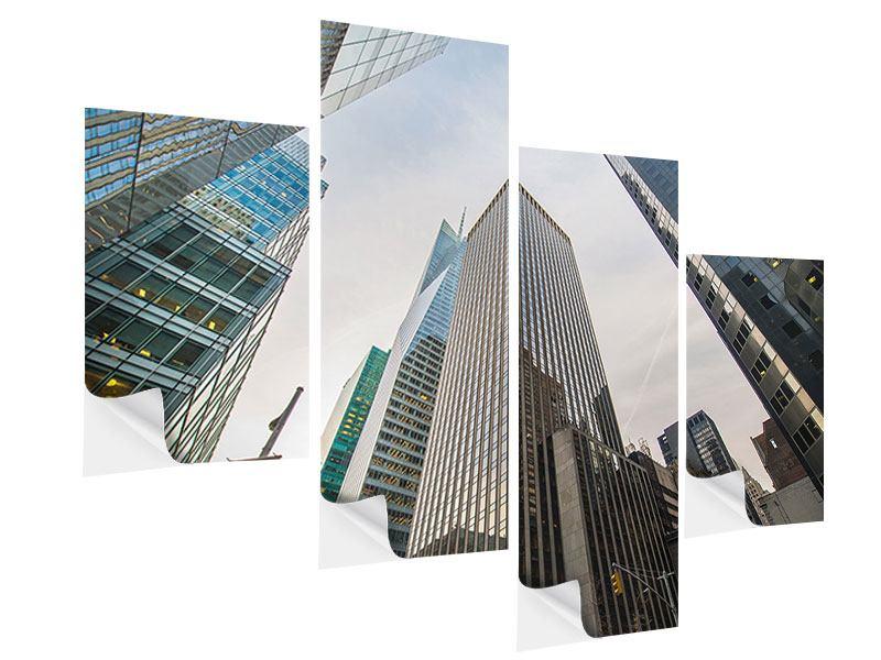Klebeposter 4-teilig modern Hochhäuser