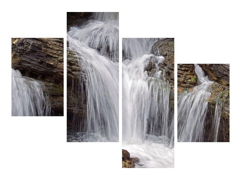 Klebeposter 4-teilig modern Wasserfall XXL