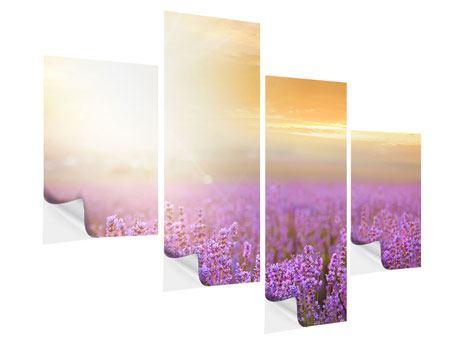 Klebeposter 4-teilig modern Sonnenuntergang beim Lavendelfeld
