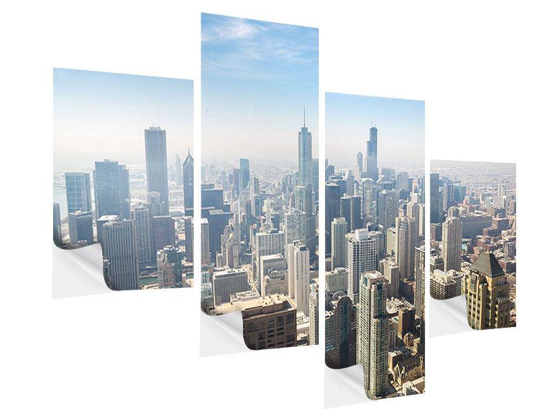 Klebeposter 4-teilig modern Wolkenkratzer Chicago