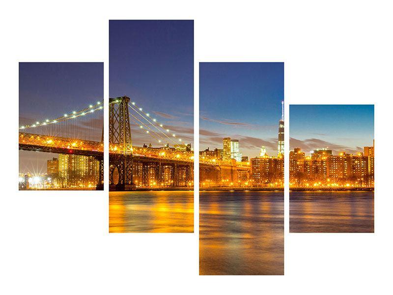 Klebeposter 4-teilig modern Skyline NY Williamsburg Bridge