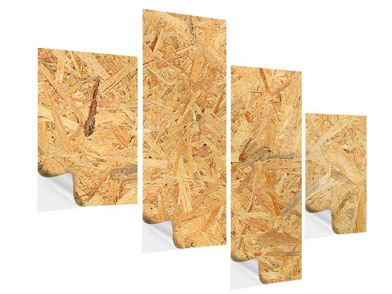 Klebeposter 4-teilig modern Gepresstes Holz