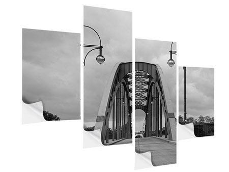 Klebeposter 4-teilig modern Poetische Brücke