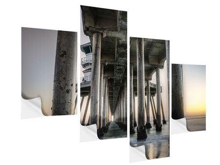 Klebeposter 4-teilig modern Brückenpfeiler