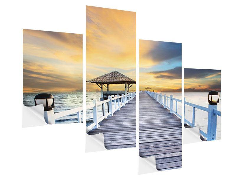 Klebeposter 4-teilig modern Die Brücke ins Meer