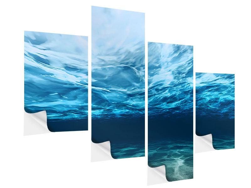Klebeposter 4-teilig modern Lichtspiegelungen unter Wasser