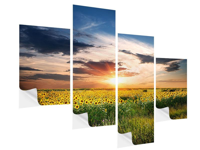 Klebeposter 4-teilig modern Ein Feld von Sonnenblumen