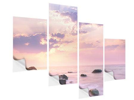 Klebeposter 4-teilig modern Sonnenaufgang am Meer