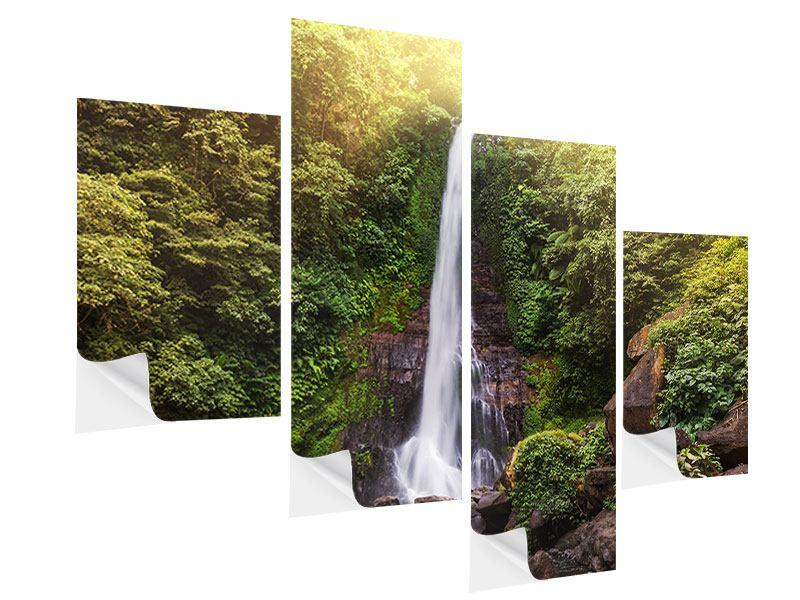 Klebeposter 4-teilig modern Wasserfall Bali