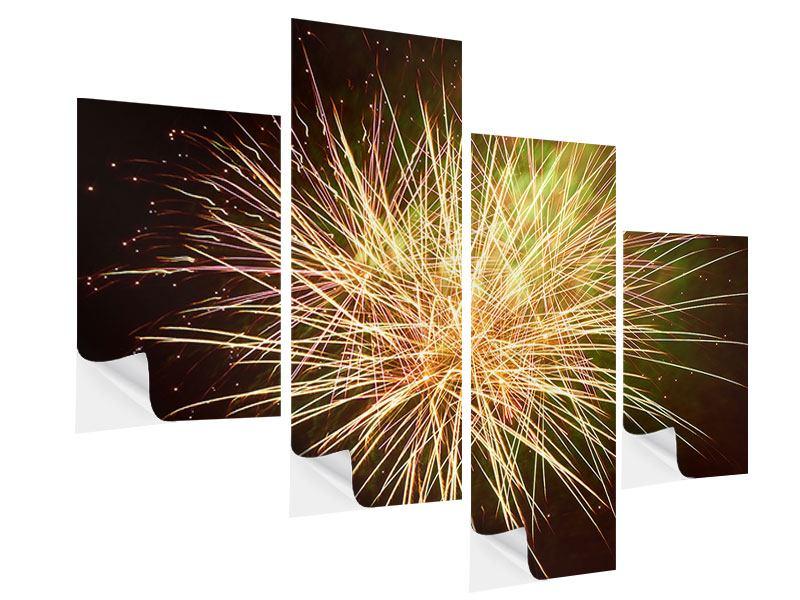 Klebeposter 4-teilig modern Feuerwerk XXL