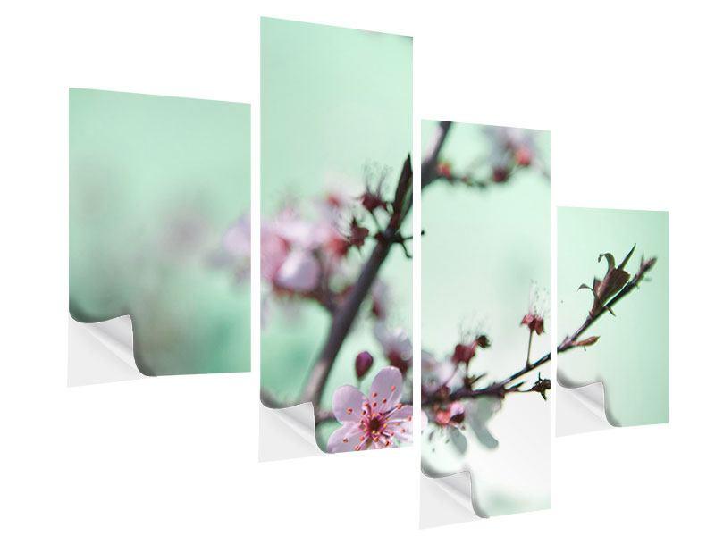 Klebeposter 4-teilig modern Die japanische Kirschblüte