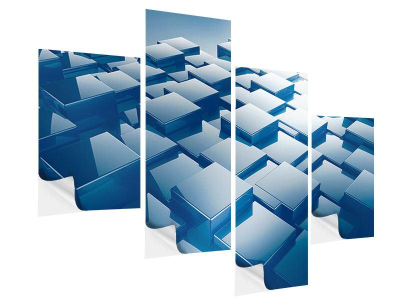 Klebeposter 4-teilig modern 3D-Cubes
