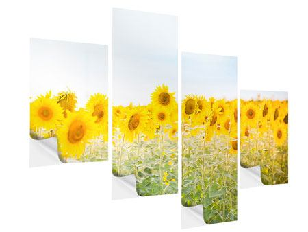 Klebeposter 4-teilig modern Im Sonnenblumenfeld