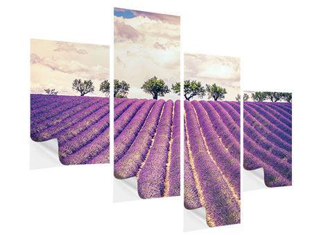 Klebeposter 4-teilig modern Das Lavendelfeld