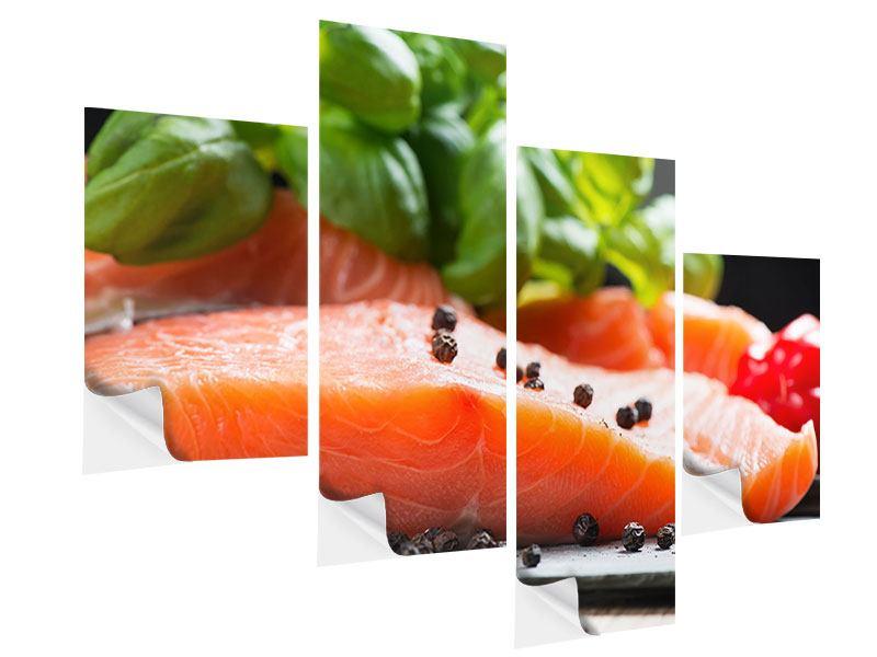 Klebeposter 4-teilig modern Frischer Fisch