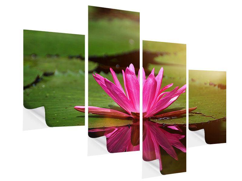 Klebeposter 4-teilig modern Lotus im Wasser