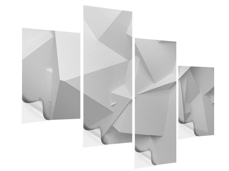 Klebeposter 4-teilig modern 3D-Raster