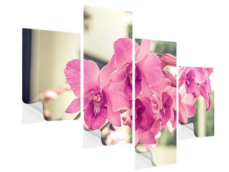 Klebeposter 4-teilig modern Ein Fensterplatz für die Orchideen