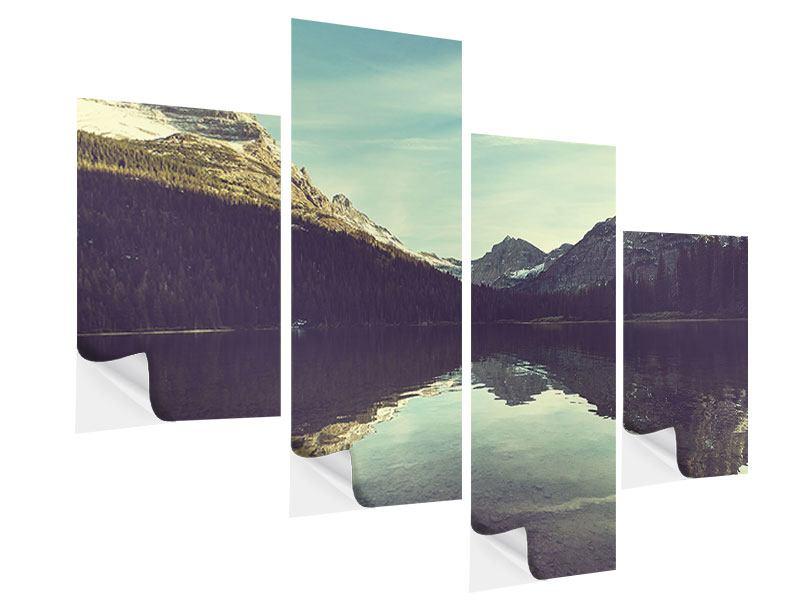 Klebeposter 4-teilig modern Spiegelung im Bergsee