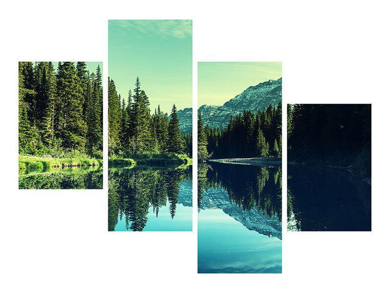 Klebeposter 4-teilig modern Die Musik der Stille in den Bergen