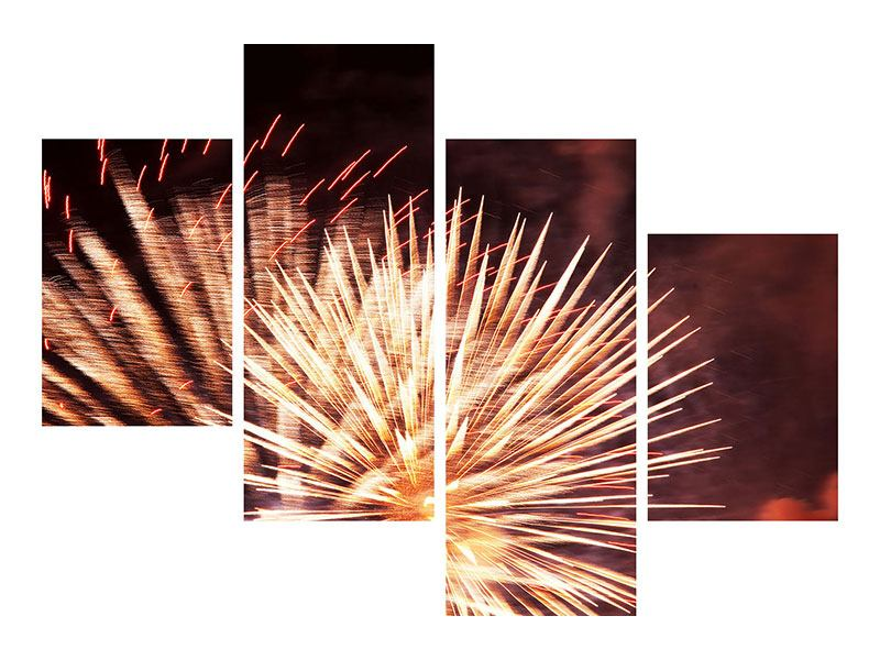 Klebeposter 4-teilig modern Close Up Feuerwerk