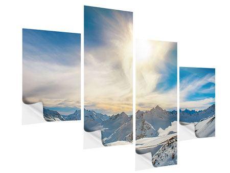 Klebeposter 4-teilig modern Über den verschneiten Gipfeln