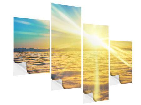 Klebeposter 4-teilig modern Sonnenuntergang über den Wolken