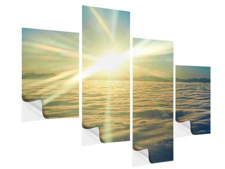 Klebeposter 4-teilig modern Sonnenaufgang über den Wolken