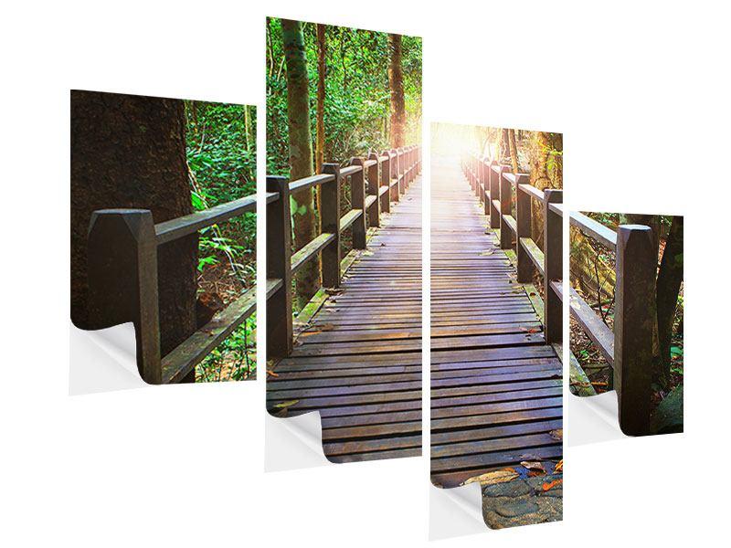 Klebeposter 4-teilig modern Die Brücke im Wald