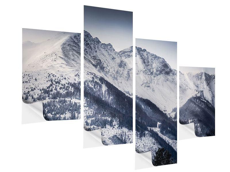 Klebeposter 4-teilig modern Die Berge der Schweiz