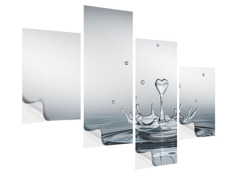 Klebeposter 4-teilig modern Wasserfigur