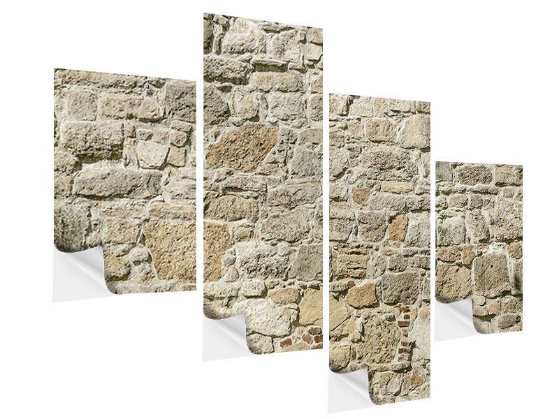 Klebeposter 4-teilig modern Naturmauer
