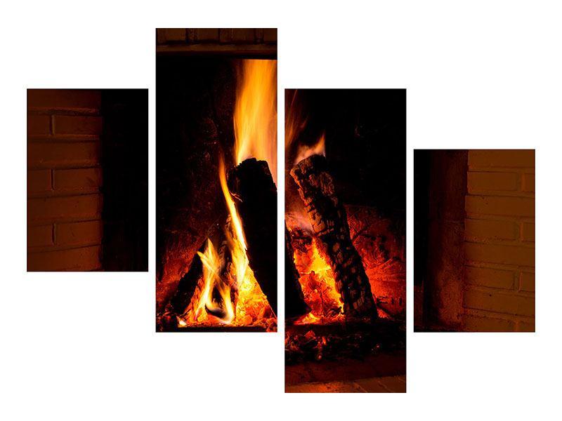 Klebeposter 4-teilig modern Feuer im Kamin