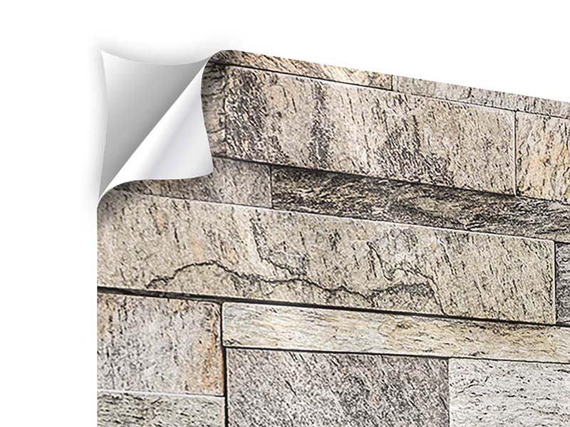 Klebeposter 4-teilig modern Elegante Steinmauer