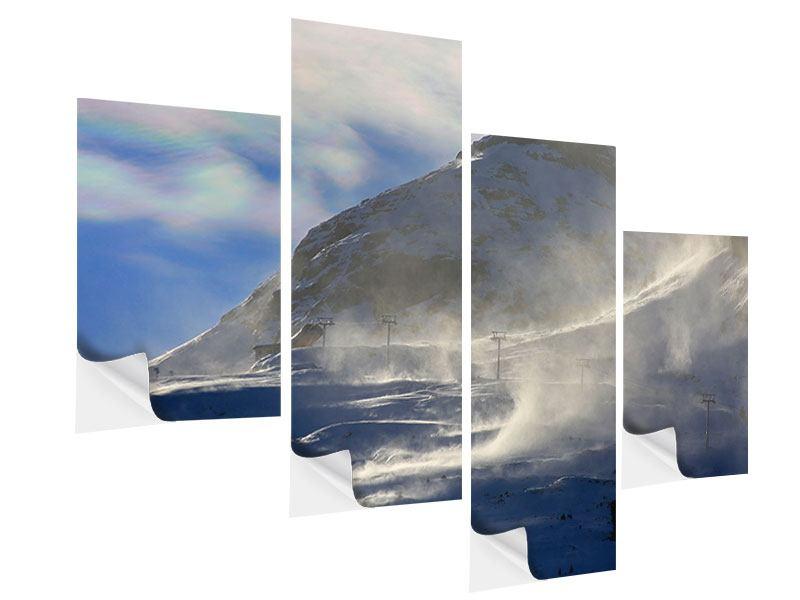 Klebeposter 4-teilig modern Mit Schneeverwehungen den Berg in Szene gesetzt