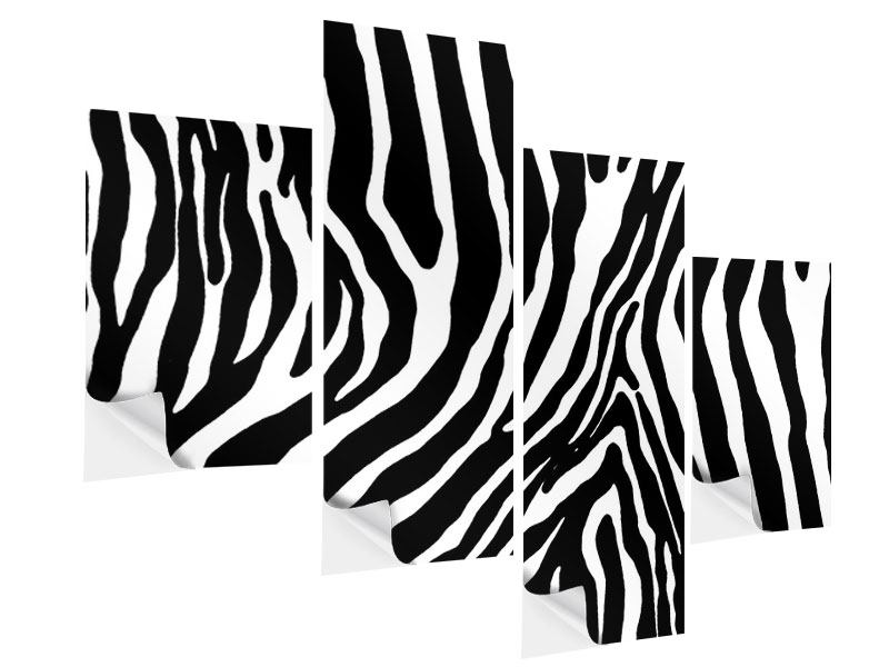Klebeposter 4-teilig modern Zebramuster