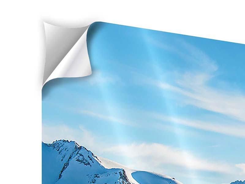 Klebeposter 4-teilig modern Sonnenaufgang in den Bergen