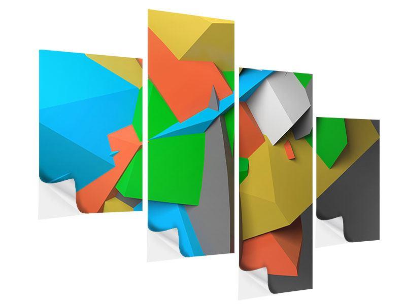 Klebeposter 4-teilig modern 3D-Geometrische Figuren