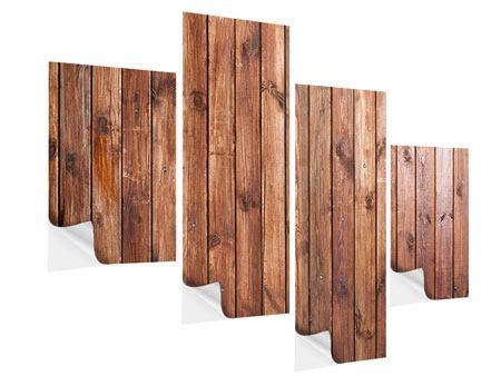 Klebeposter 4-teilig modern Edelholz