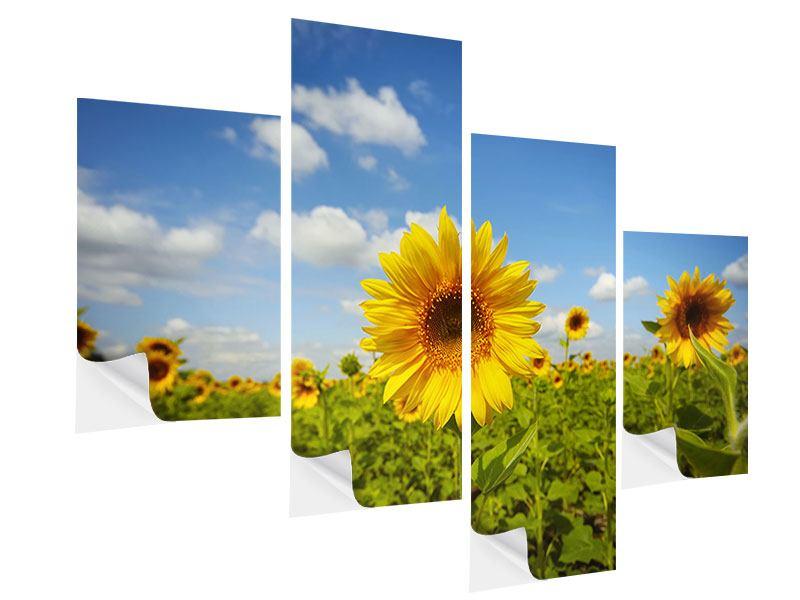 klebeposter 4 teilig modern sommer sonnenblumen. Black Bedroom Furniture Sets. Home Design Ideas