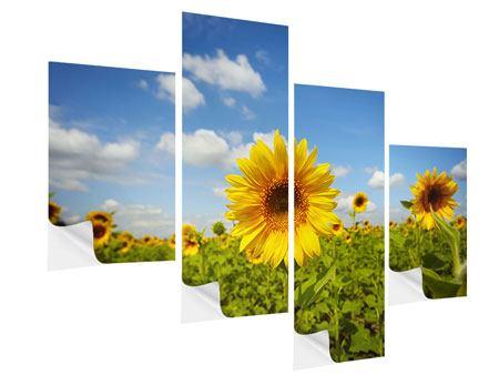 Klebeposter 4-teilig modern Sommer-Sonnenblumen
