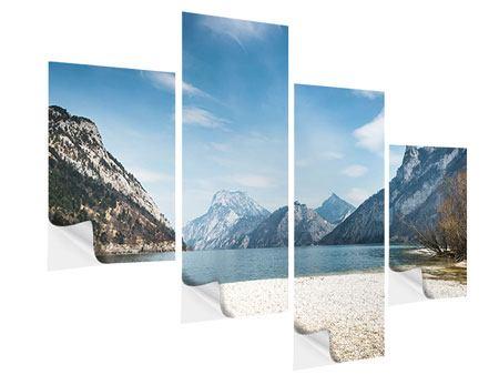 Klebeposter 4-teilig modern Der idyllische Bergsee