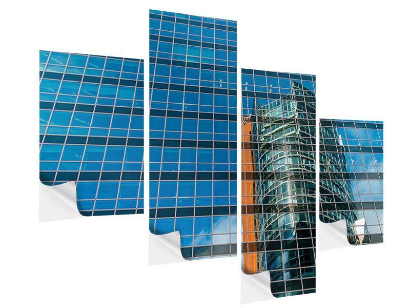 Klebeposter 4-teilig modern Wolkenkratzer-Spiegel