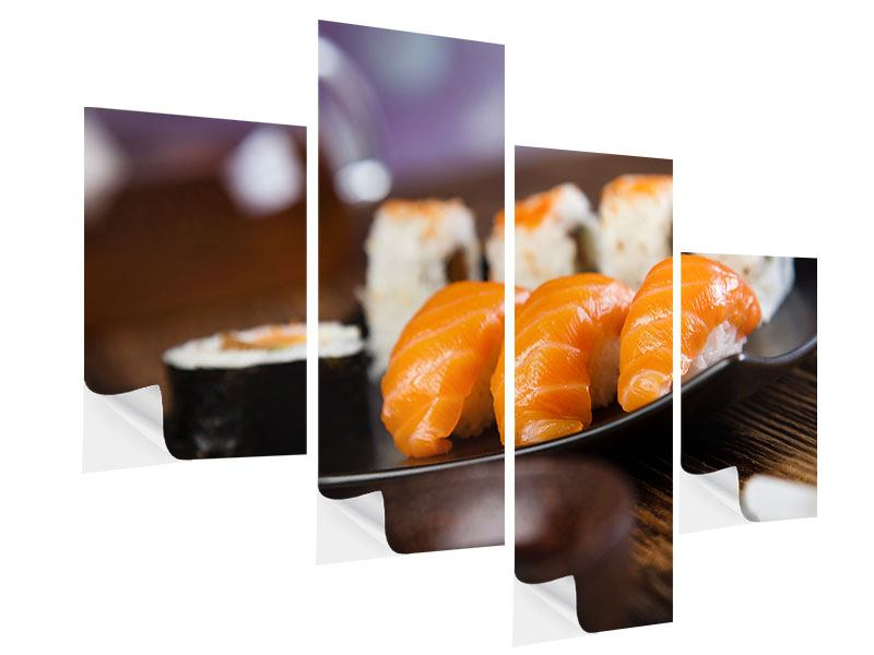 Klebeposter 4-teilig modern Sushi-Gericht