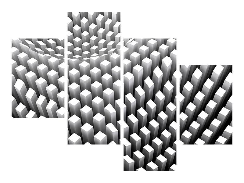 Klebeposter 4-teilig modern 3D-Rasterdesign
