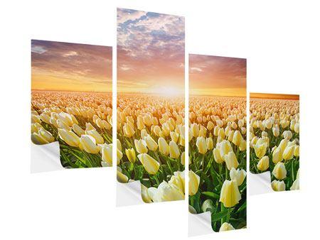 Klebeposter 4-teilig modern Sonnenaufgang bei den Tulpen