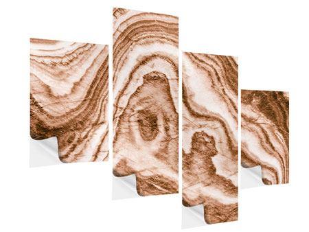Klebeposter 4-teilig modern Marmor in Sepia