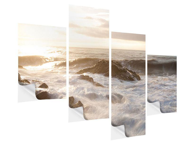 Klebeposter 4-teilig modern Meeresbrandung
